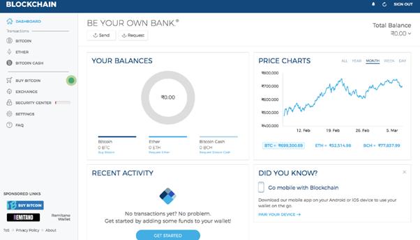 Blockchain.com dashboard