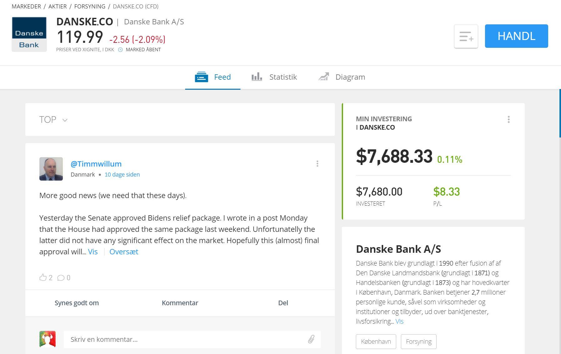 Danske Bank aktier etoro